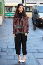 perspex Zara bag - crimson printed Zara shirt - black cropped H&M pants