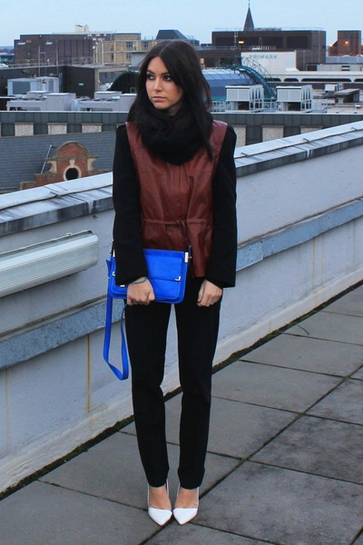 blue Zara bag - brick red H&M jacket - black Zara pants - white Zara heels