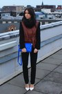 Brick-red-h-m-jacket-blue-zara-bag-black-zara-pants-white-zara-heels