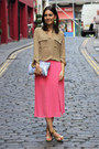 Periwinkle-zara-bag-camel-m-s-blouse-hot-pink-pleated-topshop-skirt