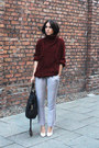 Maroon-topman-jumper-black-mulberry-bag-white-zara-heels