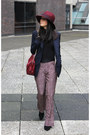 Navy-zara-blazer-maroon-topshop-hat-mulberry-bag-black-h-m-jumper