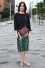 Green-sequin-h-m-trend-skirt-crimson-trio-celine-bag-h-m-earrings