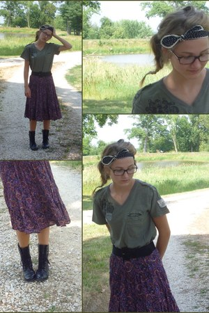 black thrifted boots - army green thrifted shirt - deep purple thrifted skirt