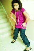 pink top - Primark necklace - Primark pants - black shoes