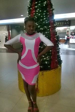 bubble gum dress - periwinkle earrings - bubble gum flats