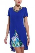 blue ELLIATT dress - turquoise blue Akira necklace - white Julian Hakes heels
