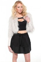 BB Dakota Faux Fur Jacket with Cutout Crop Top & Pleather Contrast Skirt