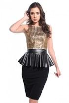 black pleather peplum Akira belt - camel keepsake top - black Akira skirt