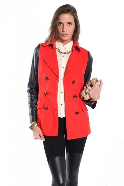 ruby red Akira coat - black Akira coat - dark khaki Akira bag