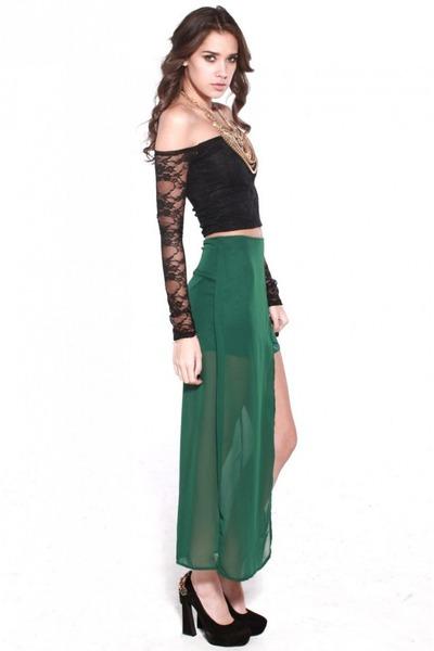 green shopakira skirt - black shopakira top - ruby red Jeffrey Campbell pumps