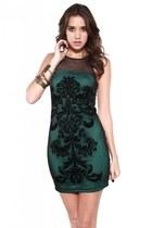 black Jeffrey Campbell pumps - green Akira dress