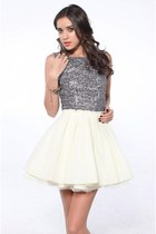 silver Akira dress - neutral Jeffrey Campbell pumps