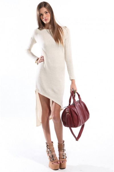 brick red Akira purse - ivory Akira dress - nude Jeffrey Campbell heels
