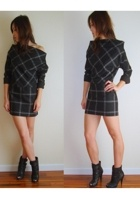 Avant Garde Sculptured Mini Plaid Dress