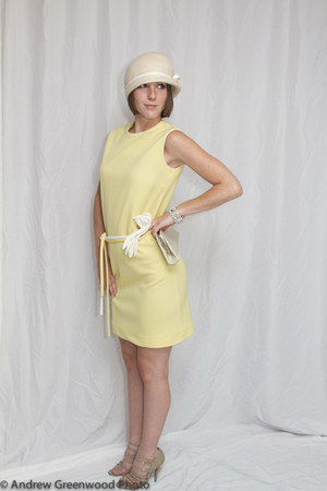 light yellow shift dress Modern Vintage dress - cream wool hat vintage hat