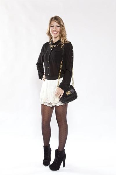 black pumps - top - skirt