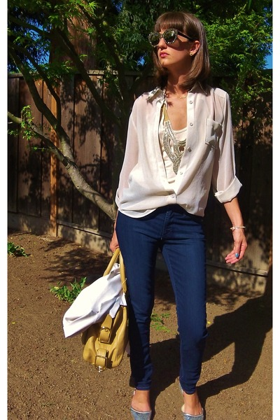 neutral haute hippie top - navy twiggy James Jeans jeans