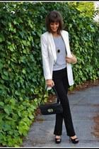 cream boyfriend style smythe blazer - black Earnest Sewn jeans