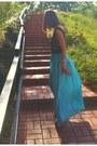 Black-sena-top-teal-sena-skirt-silver-platforms-brian-atwood-heels