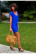 blue silk Bianca Coletti dress - bronze Torregrossa bag - camel LAMB sandals