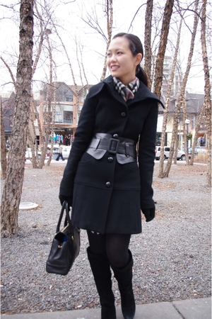 Mackage jacket - vintage scarf - town shoes boots - Wolford tights - coach purse