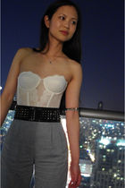 vintage bra - BCBG belt - American Apparel pants - random bracelet - Tiffany nec
