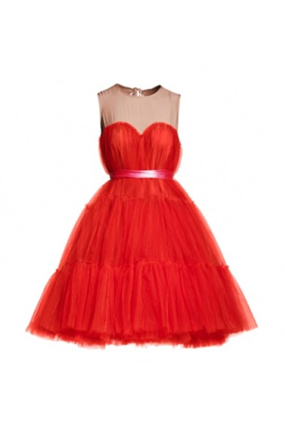 red Lanvin x H&M dress