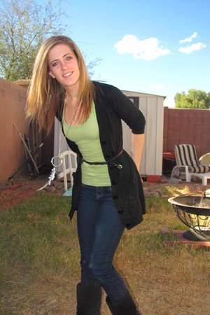 lime green hollister top - black Mossimo cardigan - navy Forever 21 jeans - blac