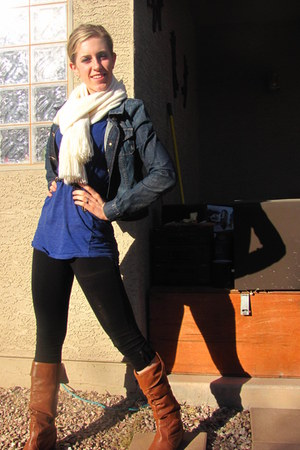 off white scarf - navy jacket - blue top - black tights - tawny boots