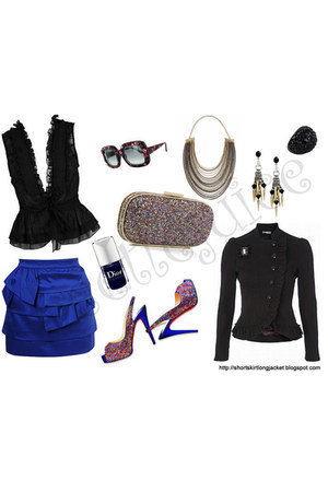 black jacket - clutch Anya Hindmarch bag - christian dior sunglasses - black blo