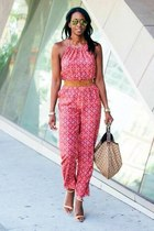 coral jumpsuit Forever 21 jumper - Gucci bag - Diane Von Furstenberg wedges