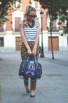 Zara t-shirt - maliparmi bag - romwe sunglasses - romwe flats - Zara pants