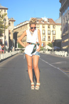 romwe vest - pull&bear scarf - Janet-Janet bag - SuitBlanco shorts