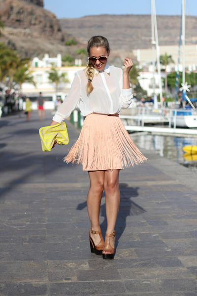 Zara skirt - Sheinside shirt - H&M bag - Sixty Seven wedges - Ata ring