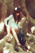 blue pull&bear top - white Bershka shorts - silver Zara cardigan - brown Fly Lon