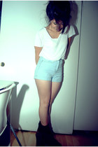 light blue high-waisted Urban Outfitters shorts