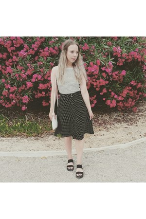 black asos sandals - black sandals - white Primark top - black Forever 21 skirt