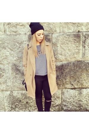 tan coat - tan camel coat Firetrap coat - black Topshop jeans