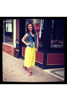 black Steve Madden shoes - lime green rubber ducky dress - blue denim JCrew vest