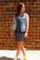 navy beaded Parker dress - light blue denim JCrew vest