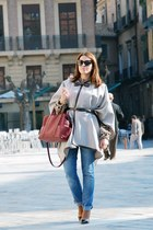 heather gray Zara cape - blue Mango jeans - pink Zara sweater - crimson Zara bag