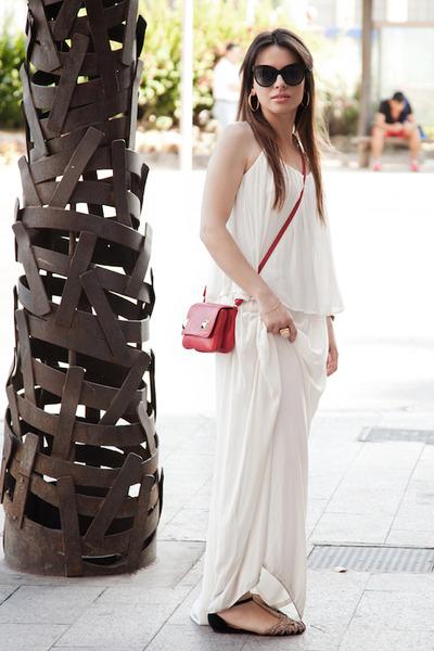 white maxi Zara dress - red shoulder bag Zara bag - black paname dior sunglasses