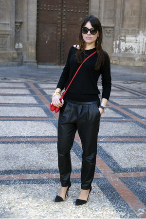 black silk Massimo Dutti sweater - ruby red Zara bag - black leather Mango pants