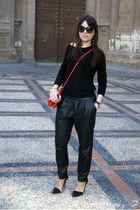 black silk Massimo Dutti sweater - ruby red Zara bag - black leather Mango pants