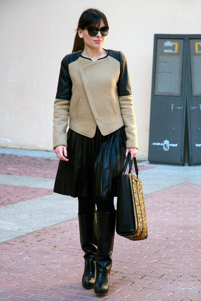 black Zara skirt - black Zara boots - camel perfecto Zara jacket