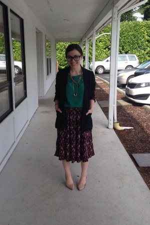 dark brown Forever 21 skirt - tan Payless shoes - teal cropped green blouse