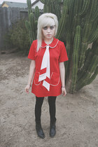 red mod vintage from Ebay dress - black faux leather Yesstyle boots