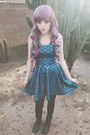 turquoise blue mermaid Living Dead dress - black faux leather Yesstyle boots