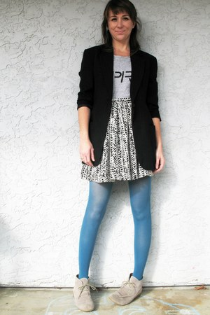black vintage DKNY blazer - heather gray suede Mossimo boots - sky blue tights